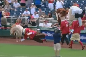 Teddy Roosevelt Takes a Dive Jul 26 Nationals Presidents Race 2