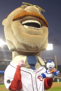 Washington Nationals racing president Teddy Roosevelt punches Mr MetTeddy Roosevelt punches Mets mascot Mr Met