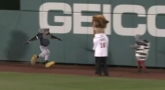 The Rally pigeon hands off to the Sharknado Washington Nationals presidents race