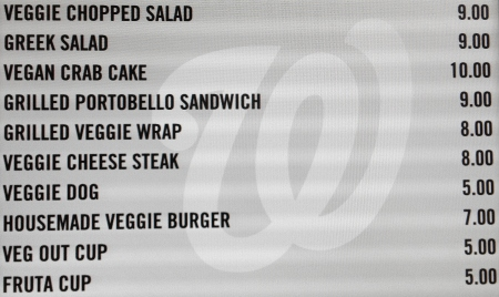 Field of Greens Menu - Vegan Food - Washington Nationals Park - Vegetarian Option