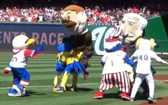 Mascots tackle Nationals Racing Presidents