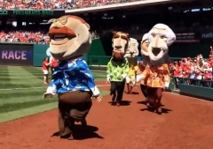 Teddy Roosevelt wins presidents race in Hawaiian Shirts