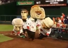 Teddy Roosevelt beats racing presidents with baby Godzilla