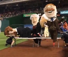 Teddy Roosevelt hurdles jumps over tables wins presidents race