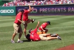 Grounds crew tackles LarQ the Bear