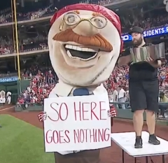 Teddy Roosevelt ALS Ice Bucket Challenge Washington Nationals Racing Presidents