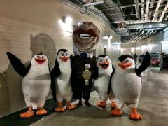 Nationals racing president Teddy Roosevelt with Madagascar Penguins