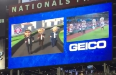 Nationals Throwback presidents race scoreboard