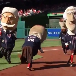 GIF: Racing president Teddy Roosevelt tries to head butt Taft but misses badly