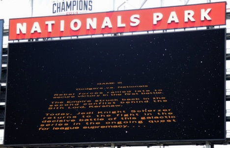 Nationals Park Star Wars Day Scoreboard