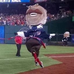 Video: Fans watch Teddy Roosevelt and the Nats racing presidents whip, watch them nae nae