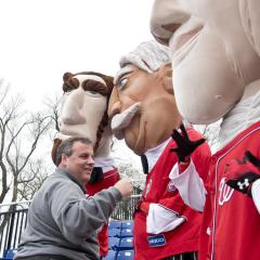Governor Chris Christie endorses Abe Lincoln Washington Nationals Racing Presidents