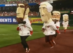 Abe Lincoln taunts Nationals racing presidents