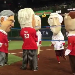 Video: Racing presidents play volleyball — er, Hooverball — with six pound medicine ball