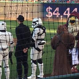 Photos and video from Star Wars day at Nationals Park, including the racing presidents epic battle vs the dark side