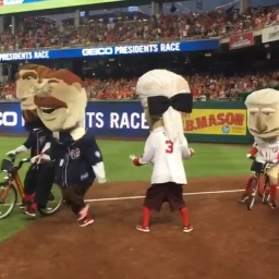 Video: Coolidge returns, Teddy teams with Lincoln and Taft as Nats racing presidents run Olympic triathlon relay