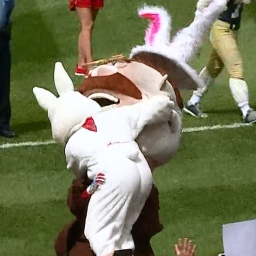 Video: Chaos reigns as visiting mascots assault racing presidents, Easter Bunny tackles Teddy Roosevelt, and Screech takes the tape