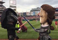 Nationals Star Wars Day racing presidents lightsaber battle