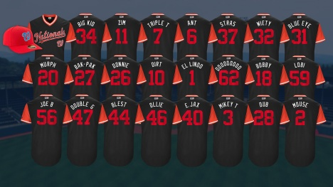 Washington Nationals Nickname Jerseys MLB Players Weekend