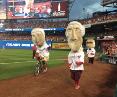 Washington Nationals Racing Presidents Race George Washington cheats bicycle