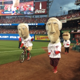 George Washington leaves Nationals presidents race, returns on a bicycle